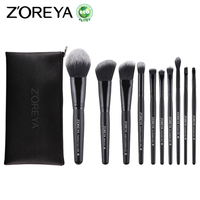 ZOREYA Brand 10pcs Make Up Brushes With Bag High Quality Powder Foundation Blush Eye Shadow Brow