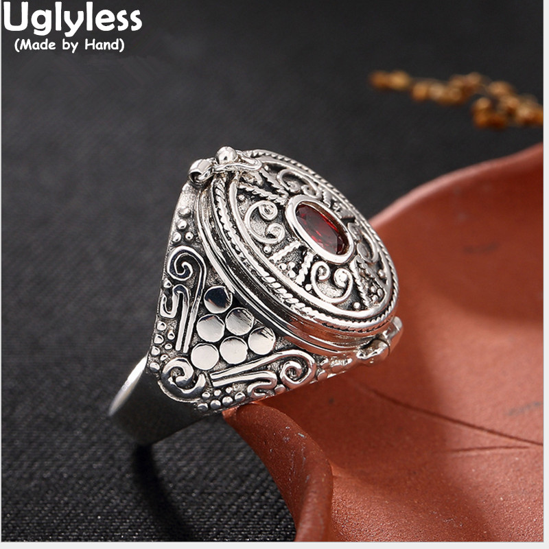 Uglyless S 925 Sterling Silver Rings Women Vintage Nepal Ethnic Ring Buddhism Openable Gaudencio Thai Silver Box Garnet Jewelry