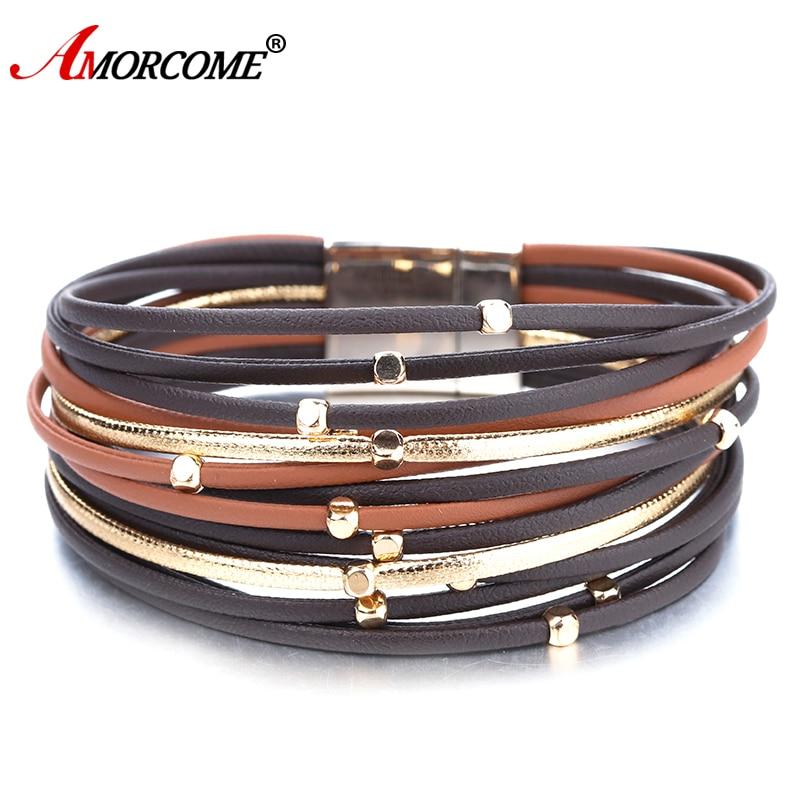 Amorcome Multilayer Thin Strip Genuine Leather Bracelet Women