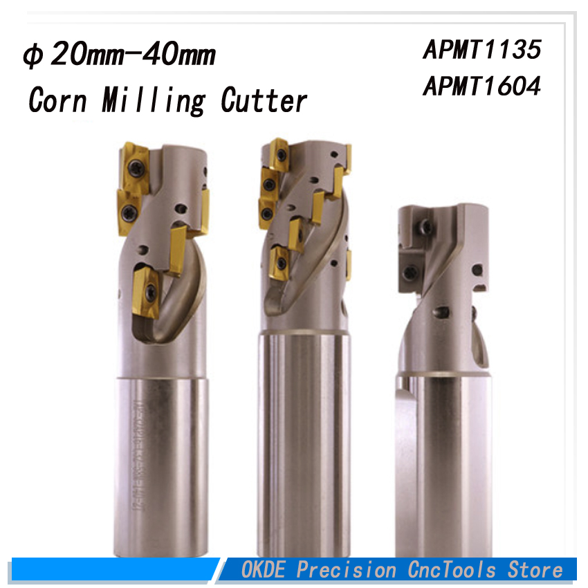 dia=20mm 25mm 32mm 40mm corn milling cutter heavy cutting rough milling APMT1135 1604 long edge milling cutter CNC blade tool все цены