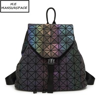 MANSURSPACE Women Laser Backpack Geometric Shoulder Bag Student's School Bag Hologram Luminous backpack travel bao backpack