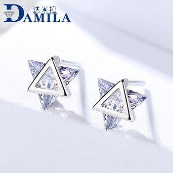 Tinggi Kualitas 925 Sterling Silver Crystal Anting-Anting dengan Cubic Zironia Batu Trendi Segitiga Anting untuk Wanita Perhiasan Perak S925