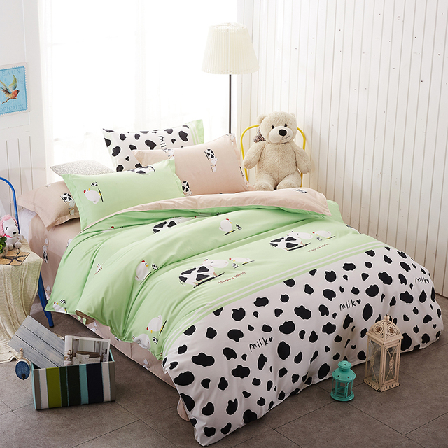 Cartoon Milk Cow 4pcs Bedding Set Cute Bed Sheet Linen Duvet Cover Happy  Farm Bedclothes Pillowcases Bed Set Kids Lovely Bedding