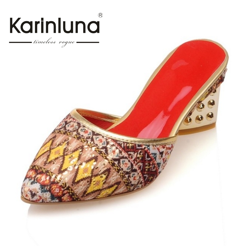 ФОТО KARINLUNA New Arrivals Sexy Pointed Toe Slip On Women Shoes Woman Sandals Bohemia Style Beach Shoes Med Heels