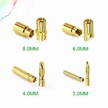 5 пара/лот 2/3/3,5/4/6/8 мм золото Медь бесщеточный мотор контрольные выводы вилки типа «Банан Пуля разъем покрытием для ESC Батарея