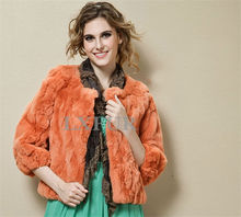 Fashion Womens Genuine Rex Rabbit Fur Jackets Casual Rex Rabbit Fur Slim Outerwear Real Fur Coat LX00049