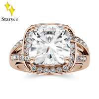 Test Positive 5.02ct 10mm VVS DEF Cushion Moissanites Lab Diamond Engagement Rings For Women 18k Solid Rose Gold Fine Jewelry