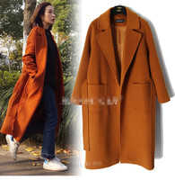 Gold Brown Wool Coat With Belt Big Pocket Brand Style High Quality Wool Trench Coats