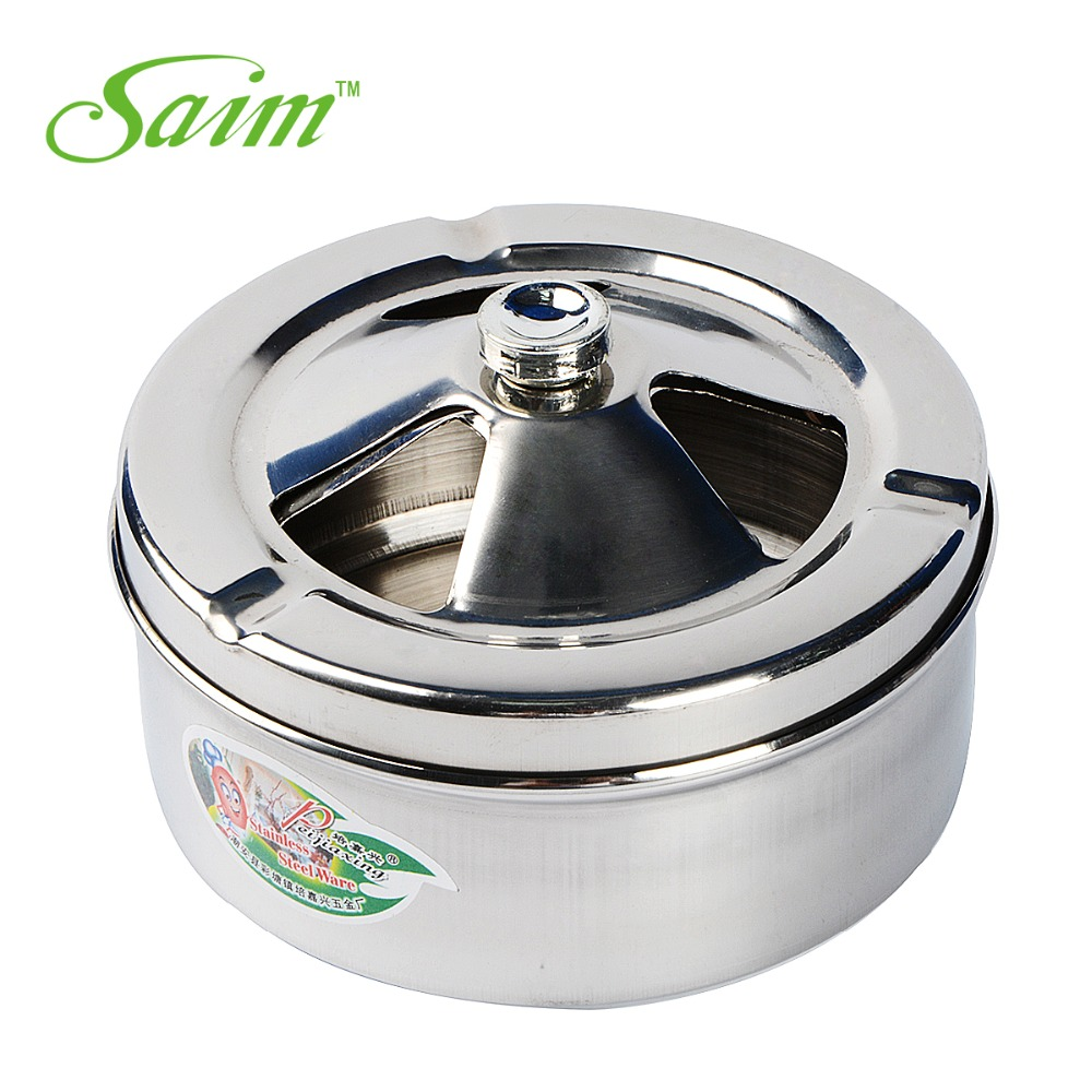 New High Quality Creative Thicken Stainless Steel Ashtray Metal Ashtray Gift With Lid Rotation Closed Off Smoke Soot Barrel