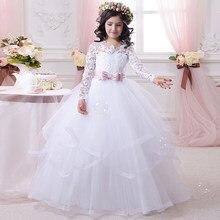 e5113b77c5 Elegancki Korowód Sukienki dla Juniorów Biały Bow Sash O-Neck Długie Rękawy  Solidna Suknia Dziewczyny Komunia Suknie 2016 New Ar..
