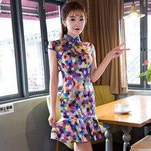 Fashion Milk Silk Cheongsam Daily Modern Qipao Chinese Traditional Dress Robe Chinoise Femme Oriental Style Dresses Vestidos