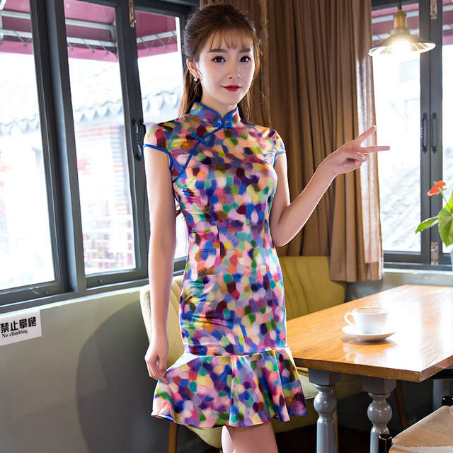 112310133fa2d Online Shop Fashion Milk Silk Cheongsam Daily Modern Qipao Chinese  Traditional Dress Robe Chinoise Femme Oriental Style Dresses Vestidos