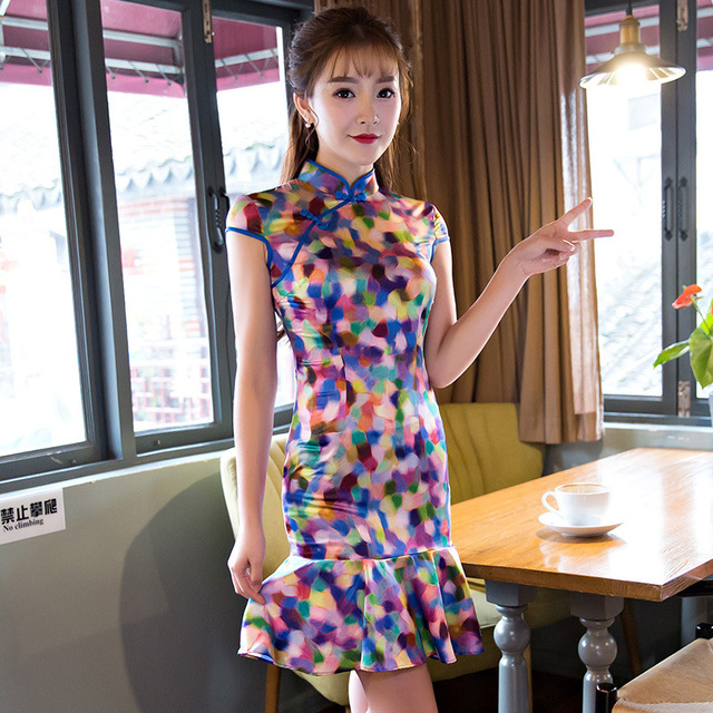 59f08854452c7 Mode lait soie Cheongsam quotidien moderne Qipao chinois Robe  traditionnelle Robe Chinoise Femme Style Oriental robes