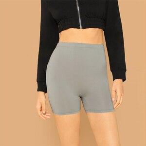 Image 3 - SHEIN Effen Fietsen Hoge Taille Leggings Vrouwen 2019 Athleisure Crop Fitness Leggings Zomer Dames Casual Workout Leggings