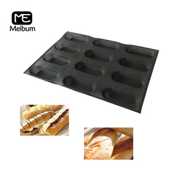 Meibum 12 wnęka czarna porowata silikonowa forma Hot Dog bagietka Modle Eclair długi bochenek taca na chleb nieprzywierająca blacha do pieczenia