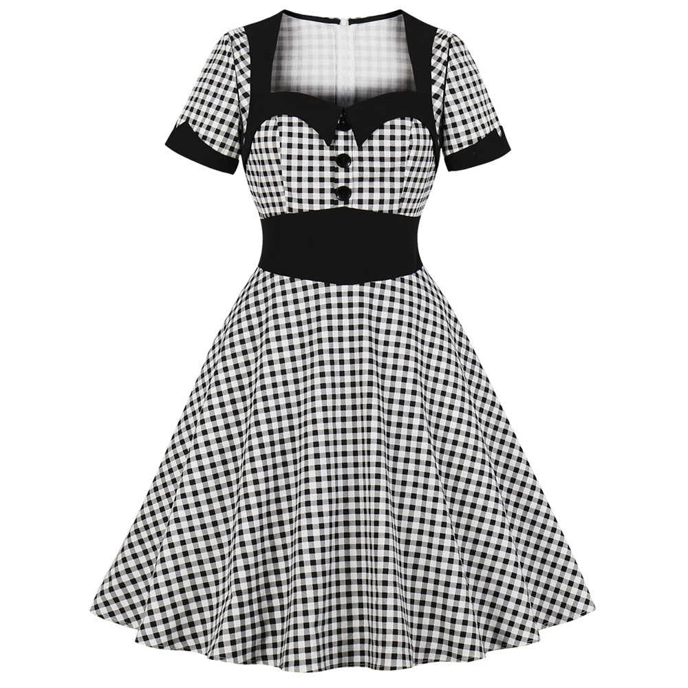 Joineles Plus Size Plaid 60s Women Retre Dress High Waist Short Sleeves Vintage Dress Rockabilly Swing Party Vestidos Petticoat
