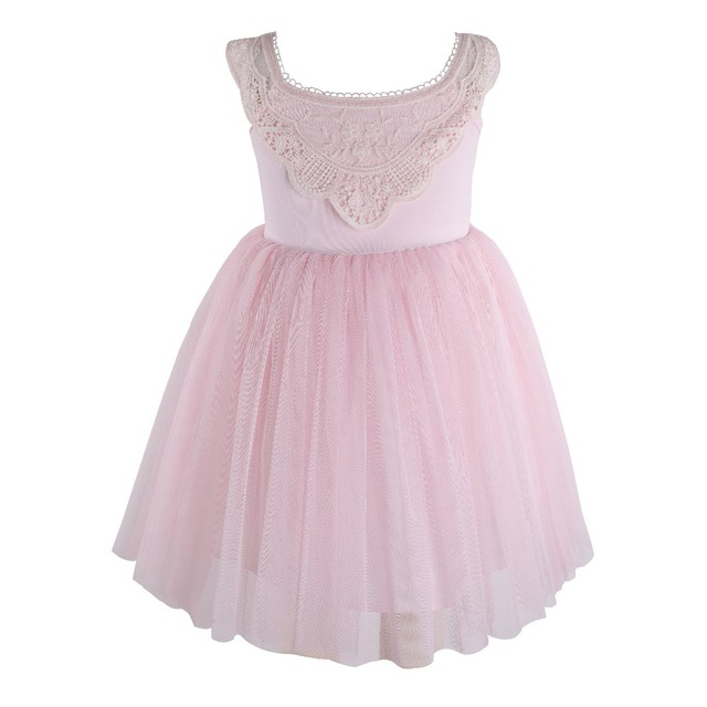 Flofallzique Kid Clothes Pink Round Neck Lace Tulle Tutu Party Wedding Christmas Sweet Cute Girl Dress  1 8Y