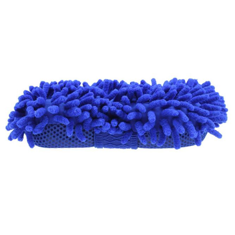 Microfiber Chenille Car Wash Clean Sponge Coral Cleaning Brush Pad Blue