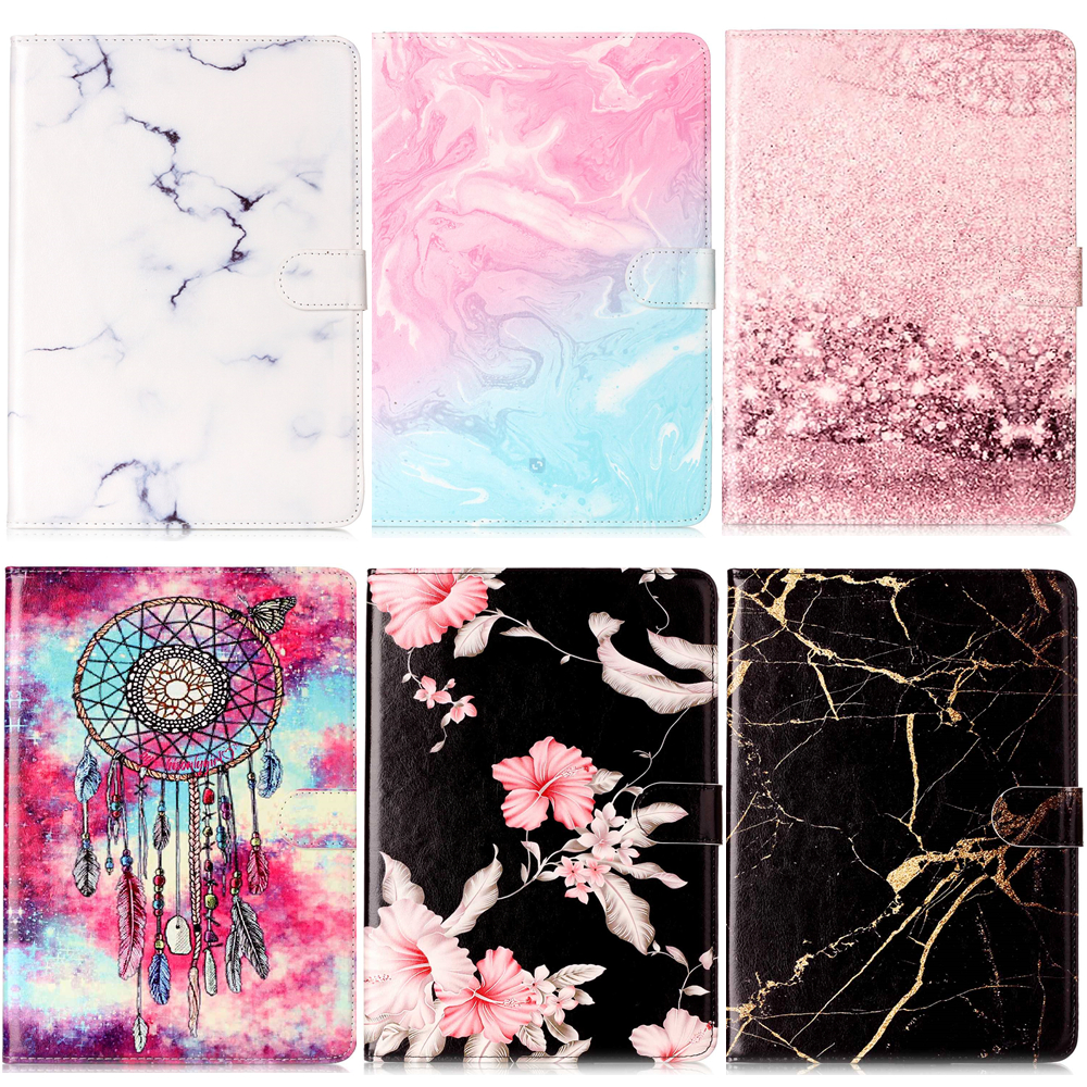 SM-T580 Case Marble Print Wallet Flip Leather Case Cover For Samsung Galaxy Tab A A6 10.1 2016 T585 T580 T580N SM-T585 #K