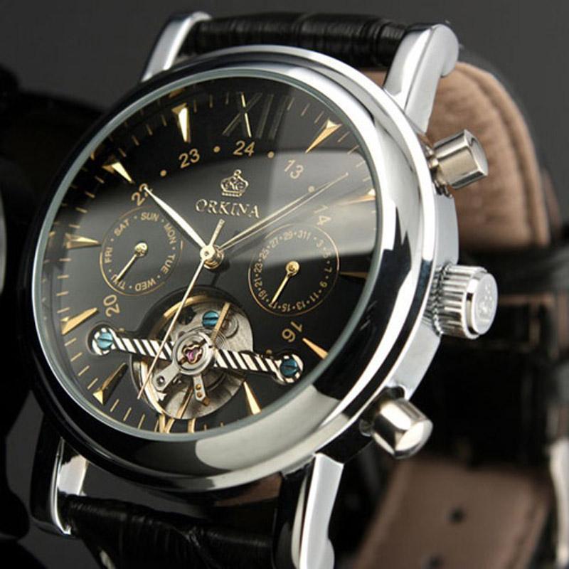 Prix pour ORKINA Tourbillon Horloge Hommes Montres Automatique Squelette Montre Mécanique Relogio Mâle Erkek Saat