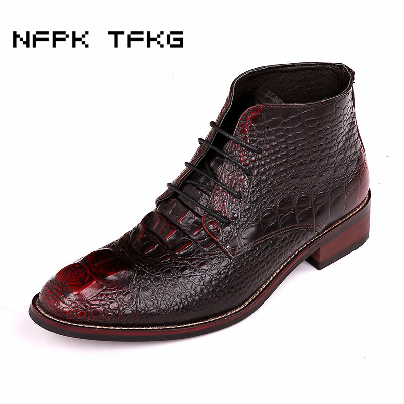 mens casual martin motorcycle dress crocodile pattern genuine leather shoes young lace up spring autumn ankle boots zapatos male men suede genuine leather boots men vintage ankle boot shoes lace up casual spring autumn mens shoes 2017 new fashion