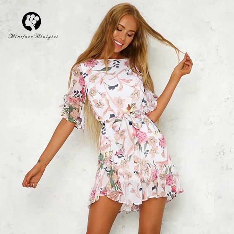 Summer Fashion Short Floral Print Dress O Neck High Waist Ruffles Women Mini Dresses Elegant Beach Party Vestidos