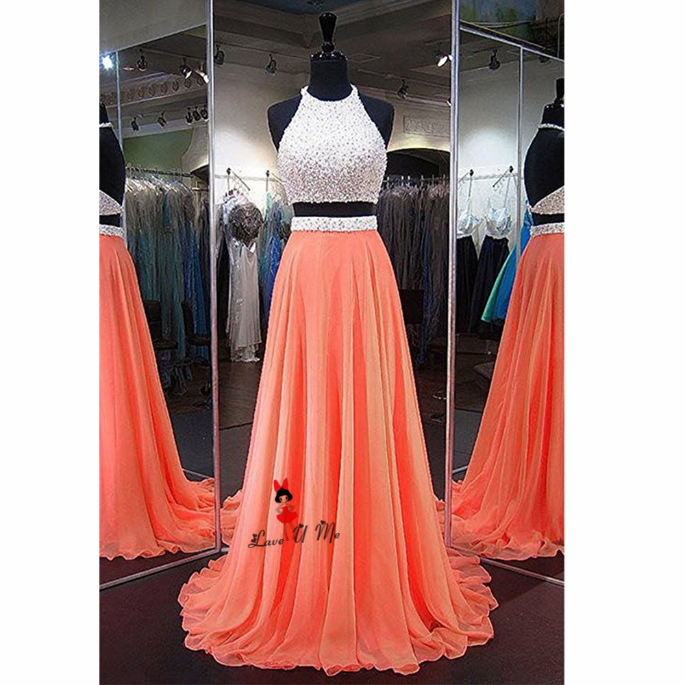 Cooperative Fitted Coral White Two Piece Prom Dresses Long Elegant 2018 Backless Special Occasion Gown Formal Evening Party Vestido De Baile