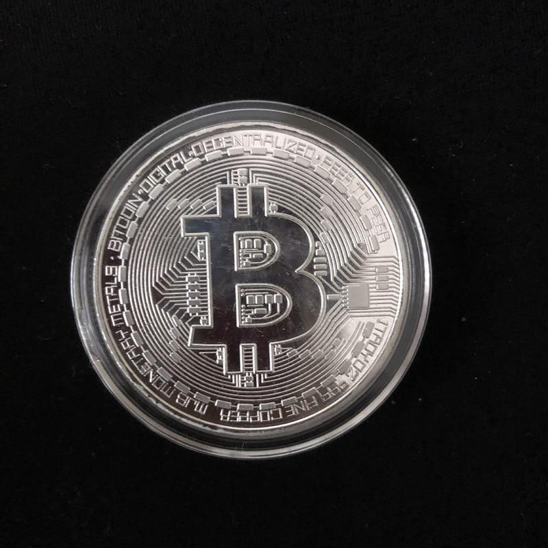 Позолоченные физические биткоины Бит монета BTC с Чехол подарок физический Металл антикварная имитация арт-коллекция монет BTC - Цвет: Silver have shell