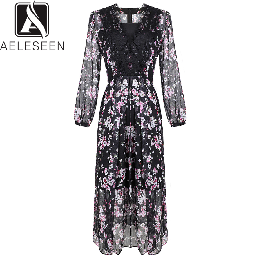 AELESEEN High Quality Runway Dresses 2019 Spring Summer Floral Print Dress Patchwork Vintage Long Party Chiffon