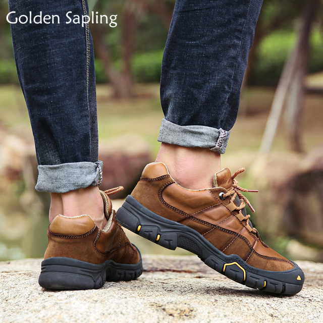 US $44.02 40% OFF|Golden Sapling Male Outdoor Shoes Genuine Leather Winter Sneakers Men Mountain Trekking Mens Hiking Shoes Sport Tactical Boots in