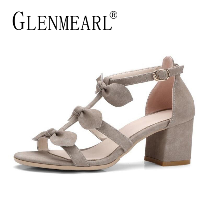 Suede Women Sandals 2018 Summer Shoes Woman Brand Thick Heels Bow Casual Party Ladies Sandals Shoes Female Plus Size 34-42 phyanic 2017 gladiator sandals gold silver shoes woman summer platform wedges glitters creepers casual women shoes phy3323
