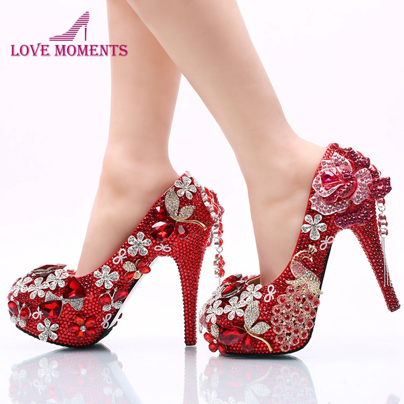 Luxurious Red Rhinestone Wedding Party Shoes Round Toe High Heel Bridal Dress Shoes Crystal Phoenix and Rose Prom Party Pumps cinderella high heels crystal wedding shoes 14cm thin heel rhinestone bridal shoes round toe formal occasion prom shoes