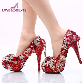 Luxurious Red Rhinestone Wedding Party Shoes Round Toe High Heel Bridal Dress Shoes Crystal Phoenix and Rose Prom Party Pumps
