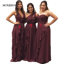 Chiffon A-Line Bridesmaid Dresses V Neck  One Shoulder  Strapless Three  Different Design 1d8ff6715587