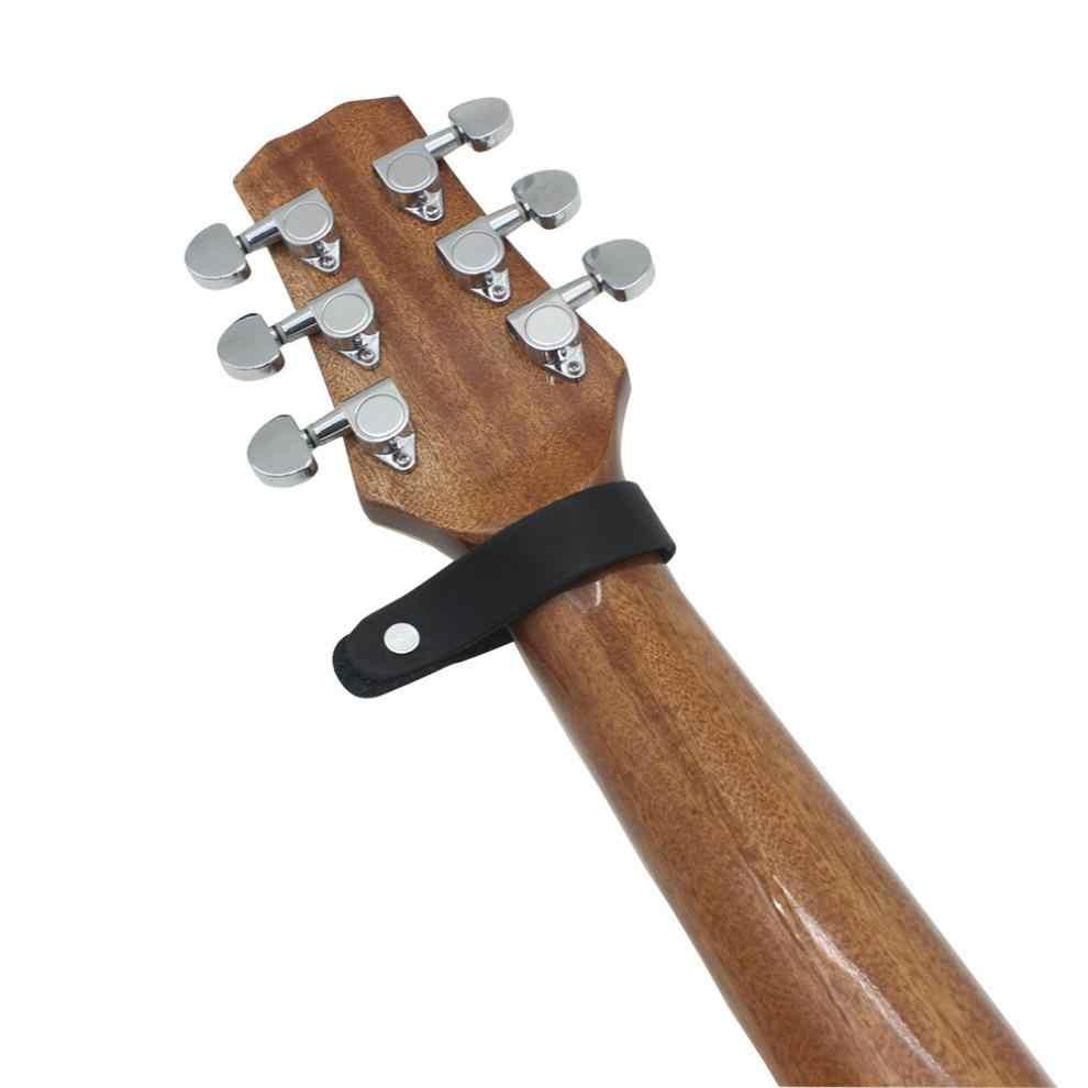 Correia Da Guitarra de Couro preto Titular Botão de Bloqueio Seguro para Acessórios Para Baixo Acústico Guitarra Elétrica Clássica