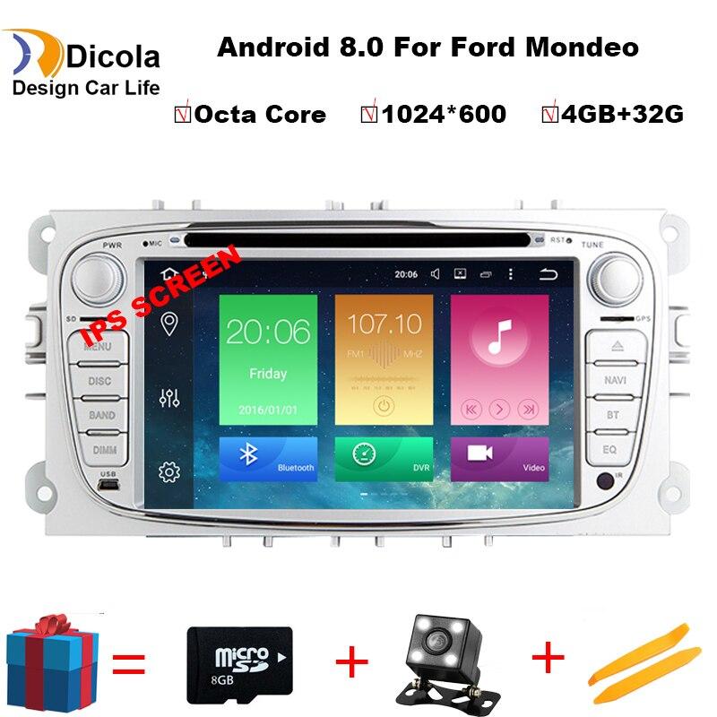 1024*600Octa Core 2 Din 7 pouces lecteur DVD de voiture Android 8.0 pour FORD/Focus/S-MAX/Mondeo/C-MAX/Galaxy Wifi GPS Navigation Radio USB