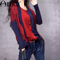Artka Women S Spring Individualized Color Collision Scoop Neck Plaid Jacquard Wool Blending Combo Cardigan Sweater