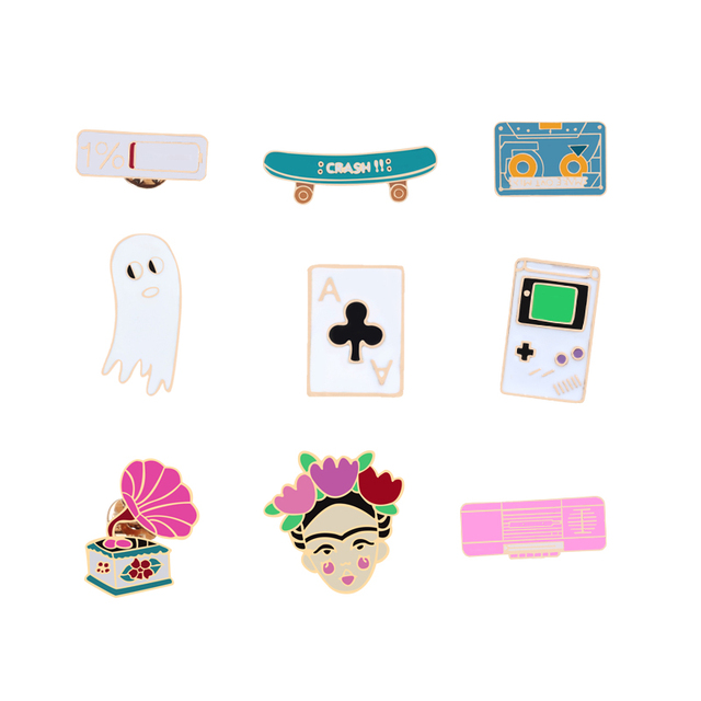 New personality brooch badge pin metal man jewelry accessories game machine skateboard speaker light 1% battery A Kid woman gift