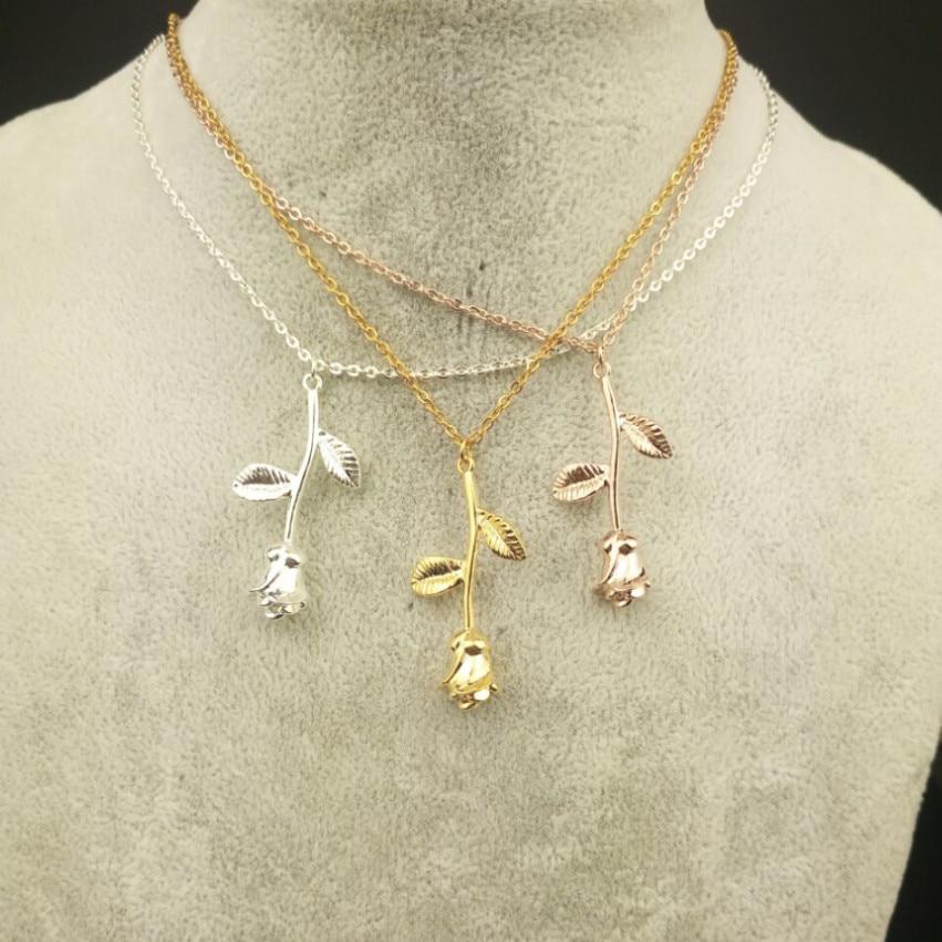V Attract Bijoux Femme Collier Rozā zelta roze Ziedu paziņojums - Modes rotaslietas - Foto 2