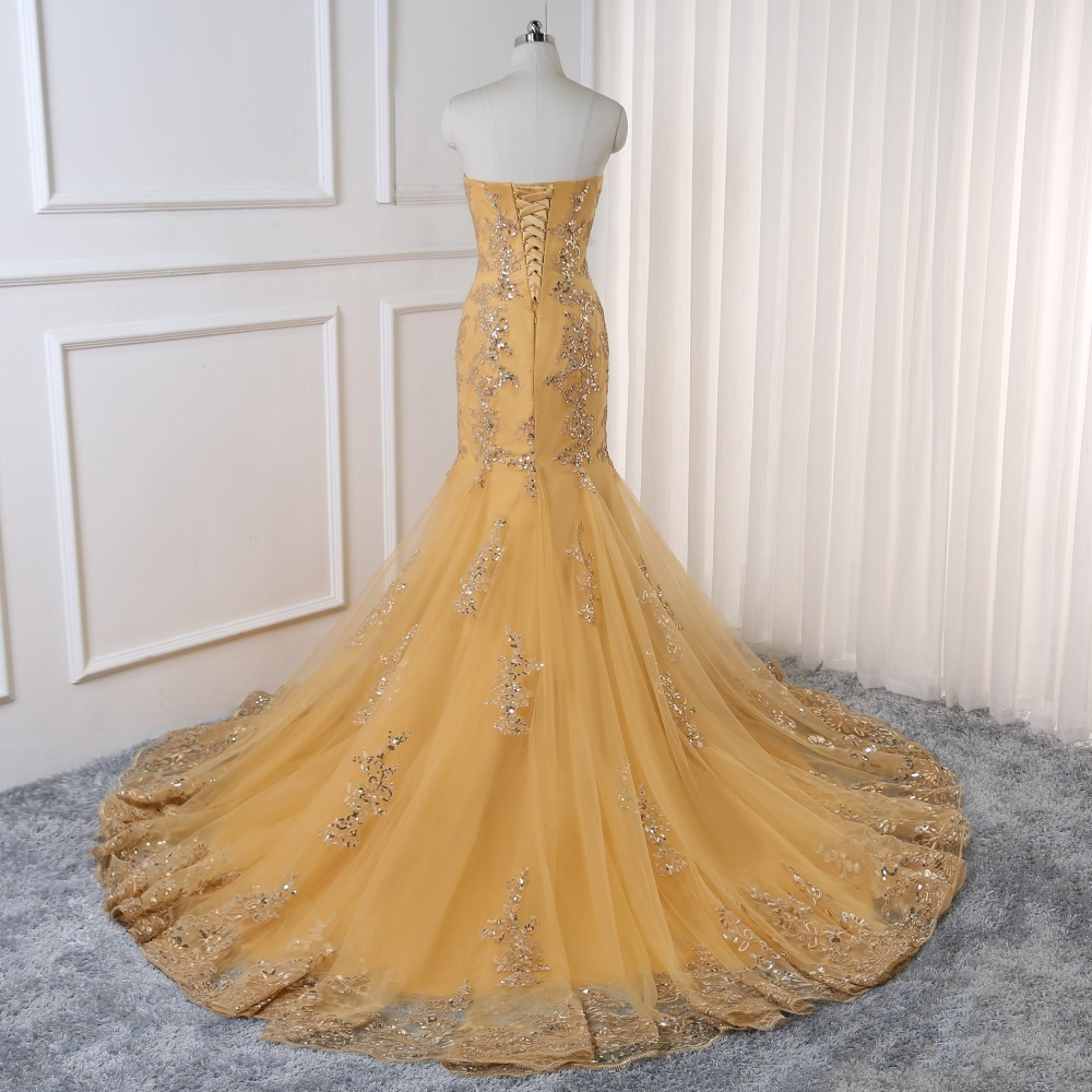 2019 Prom Dresses Mermaid Golden Tulle Appliques Lace Backless Party Maxys Long Prom Gown Evening Dresses Robe De Soiree