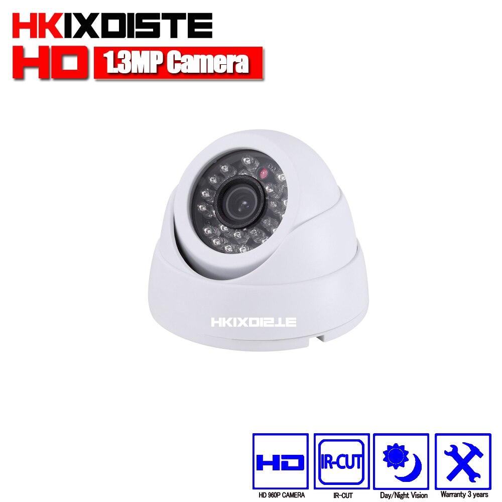 HKIXDISTE 960P Dome Analog AHD CCTV Camera indoor IR CUT Night Vision HD Security 2500TVL Surveillance 1.3MP indoor camera 4 in 1 ir high speed dome camera ahd tvi cvi cvbs 1080p output ir night vision 150m ptz dome camera with wiper