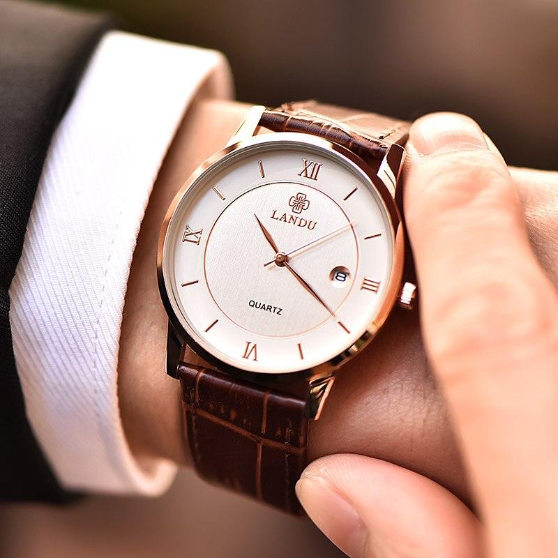 LANDU Vintage 7mm Exquisite Business Quartz Wristwatches Men Charm Watch New Fashion Leather Strap Male Wristwatches Clock men s exquisite business quartz watch showing manhood 345