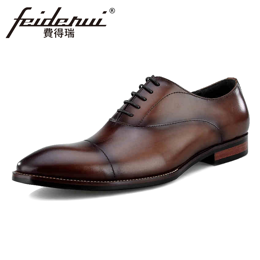 Vintage Handmade Men's Wedding Oxfords Round Toe Lace-up Genuine Leather Man Party Flats Formal Dress Designer Male Shoes BQL92