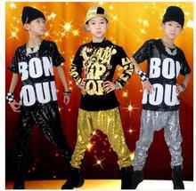 Free Shipping Fashion Spring Autumn Children's Clothing Set Dance Costumes Sweatshirt Hip Hop Harem Pants Kids Sport Suits
