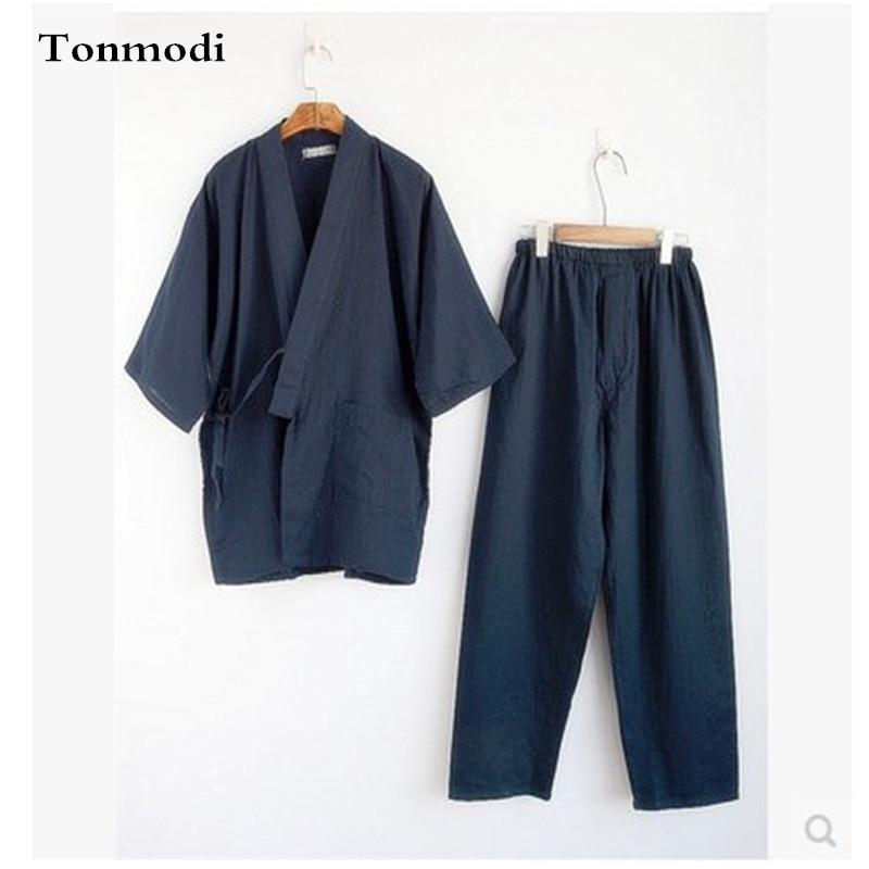 Cotton Kimono Men Pajamas Suit Mens Robes Tracksuit Three Quarter Trousers Sleep Homewear Kimono Pajama Sets