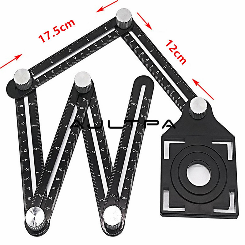 Multi Angle Measuring Ruler Aluminum Folding Positioning Ruler With Metal Screws For Professional DIY Wood Tile Flooring Tool