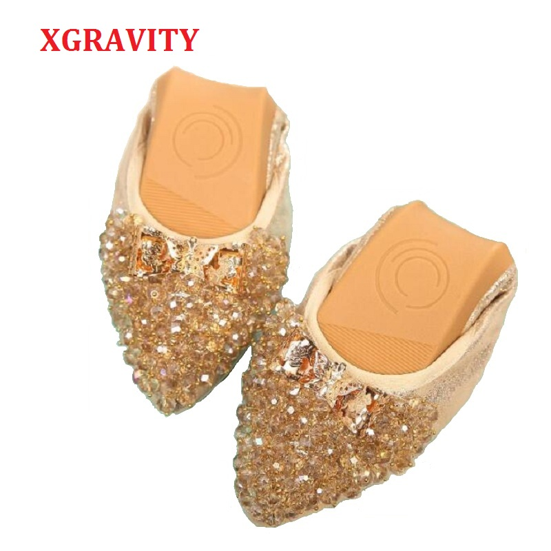 XGRAVITY New Crystal Flats Ballet Flat Shoes Rhinestone Women Spring Autumn Butterfly Pointed Toe Gold Black Shoes Loafers C269 phyanic luxury rhinestone women shoes 2018 autumn new designer fashion sequin women loafers ballet flats lady fold able shoes