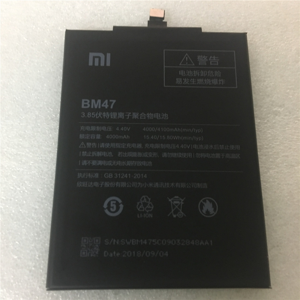 15.8wh Phone Battery For Xiaomi Redmi 3s Redmi 3x Redmi 4x Hongmi 3 S Redrice Hongmi 3 Bm47 Batteries 50g Mobile Phone Batteries Lehons 1pcs 4100mah