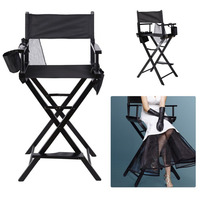 Newest Portable Wooden Makeup Chair With Side Bags Folding Artist Director Chair Professional Beauty Tool Make Up Accessories