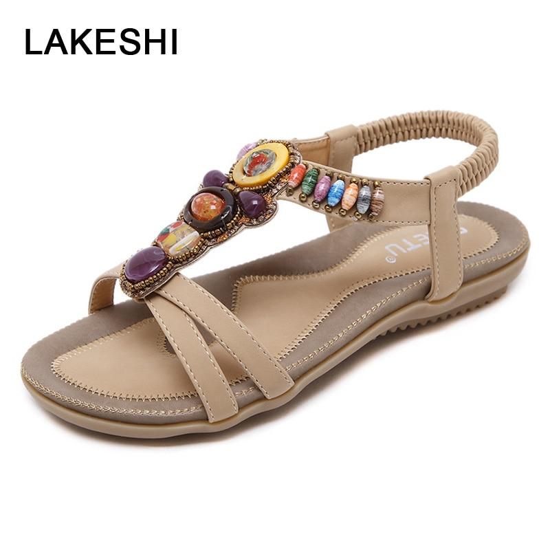 LAKESHI Women Sandals Summer Beach Sandals 2018 New Flip Flops Women Flat Sandals Bohemian Beaded Soft Ladies Sandals Size 44 45 sandals mandel sandals